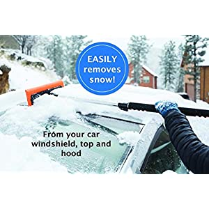 "BirdRock Home 55"" Extendable Snow MOOver and Ice Scraper with Foam Grip 