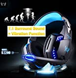 Mugen Power EACH G2200 7.1 Surround USB Super Vibration Gaming Headset with Microphone for PS4 Xbox PC Tablet Laptop Desktop (Blue)