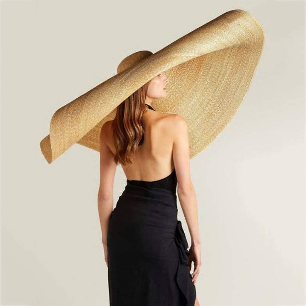 Beach Anti-UV Sun Protection Foldable Roll up Large Sun Hat GJK-SION Womens Floppy Big Brim Straw Cap