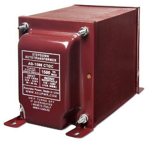 ACUPWR AD-1500 1500W Step Down 220/240V to 110/120V Transformer with Schuko Type F Plug & NEMA 1-15R Type B Input by AcuPwr TM