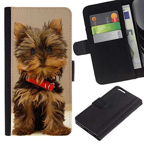 OMEGA Case / Apple Iphone 6 PLUS 5.5 / Cute Yorki Yorkie Terrier Dog / Cuir PU Portefeuille Coverture Shell Armure Coque Coq Cas Etui Housse Case Cover Wallet Credit Card