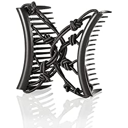 HairZing Pretzel Comb, Hair Accessory Perfect for Easy Ponytails, UpDos and Twists, Hair Accessory with Plastic Double Combs, Black, Medium