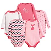 Luvable Friends Baby Infant 5-Pack Long Sleeve Hanging Bodysuit, Foxy, 3-6 Months