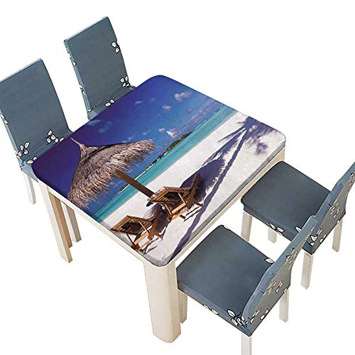 (PINAFORE 100% Polyester, Eco-Friendly Safe Two Chairs Umbrella on a Beach Shadow from Palm Tree Spillproof Fabric Tablecloth 29.5 x 29.5 INCH (Elastic Edge))