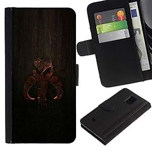 // PHONE CASE GIFT // Moda Estuche Funda de Cuero Billetera Tarjeta de crédito dinero bolsa Cubierta de proteccion Caso Samsung Galaxy S5 Mini, SM-G800 / Wood Sign /