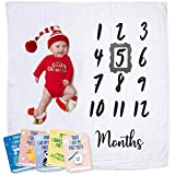 Baby Monthly Milestone Blanket | Muslin Cotton Swaddle & Throw for Infant & Babies 0-3 Months, 3-6, 6-9, 9-12 | Photography Backdrop Photo Prop for Newborn Boy & Girl - New Mom Baby Shower Gift
