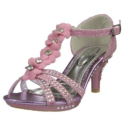 Kids Dress Sandals T-Strap Rhinestone Flower Glit High Heel Shoes Pink SZ 2