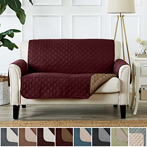Childs Loveseat (Deluxe Reversible Quilted Furniture Protector and PET PROTECTOR. Two Fresh Looks in One. Perfect for Families with Pets and Kids. By Home Fashion Designs Brand. (Loveseat - Burgundy / Taupe))