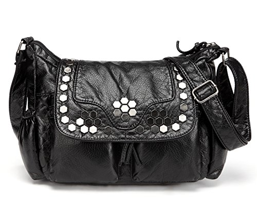 Leather Women Black Ladies Lightweight Handbag with Pockets Shoulder Strap Bags and Purse