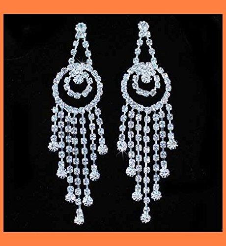 (Dangle Chandelier Clear Rhinestone Earring Earrings Bridal Silver Plated E600)