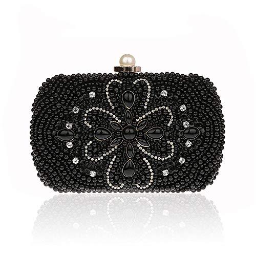 New Women Rhinestone Beaded Evening Clutch Bags Handbags Bridal Wedding Party Purse Fashion (Color : Black)