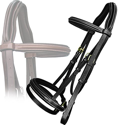 Exion Anti Pressure Cut Head Piece Raised Padded Leather Bridle with PP Rubber Grip Reins and Brass Buckles | Equestrian Show Jumping Padded Bridle Set | English Horse Riding Tack | Black | Cob