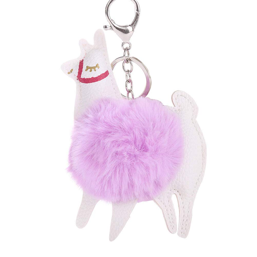 Finance Plan Big Promotion Lovely Alpaca Faux Fur Ball Keyring Car Key Chain Women's Bag Hanging Decor Purple