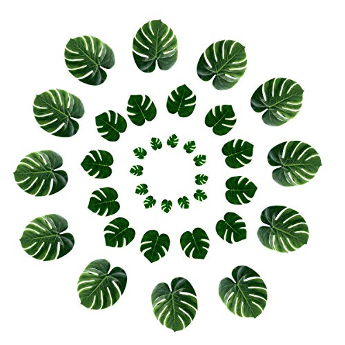 DELONIX Artificial Monstera Leaves,Tropical Leaves Decorations,Palm Leaf for Luau Party Decorations,Jungle Party Decorations ()
