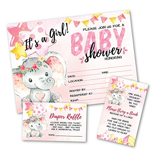 Deluxe Pink Elephant Baby Shower Invitations, Jungle, Tropical Safari Animals, Its A Girl Party Invites, Includes- 20 Each Large Double Sided 5 x 7 Invites, Raffle Tickets, and Book Request Inserts