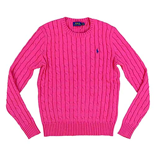RALPH LAUREN Polo Womens Cable Knit Crew Neck Sweater (Large, Pink/White Pony)