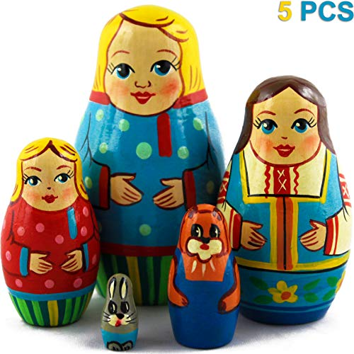MATRYOSHKA&HANDICRAFT Nesting Dolls Funny Family Set 5 pcs Home Decor Accents -