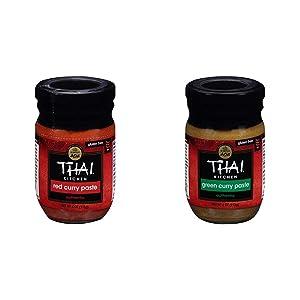 Thai Kitchen Gluten Free Red Curry Paste, 4 oz (Pack of 6) with Thai Kitchen Gluten Free Green Curry Paste, 4 oz (Pack of 6)