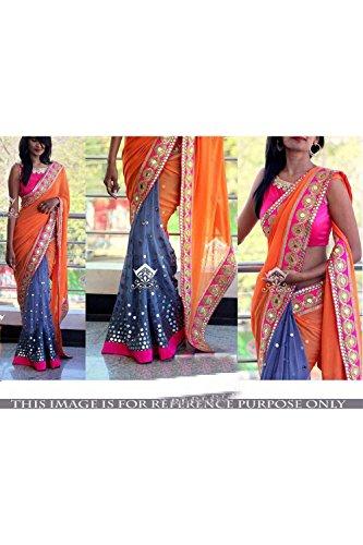 Indian Trends Designer Ethnic Orange and Gray Georgette Bollywood Replica Saree Sar