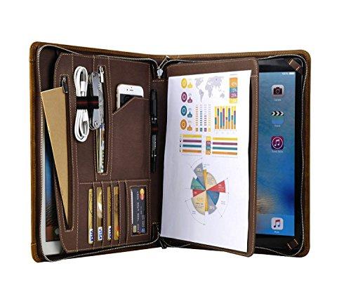 Vintage Crazy-Horse Leather Portfolio for Microsoft Surface Pro 3 Pro 4 - Handmade Padfolio Case Business Zippered Organizer Document Folder with Letter Size Notepad