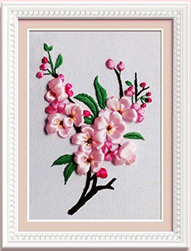 Ribbon embroidery Kit Handmade flower design for beginner DIY Wall Decor Peach blossom(No frame, Hoop for (Free Needlepoint Patterns)