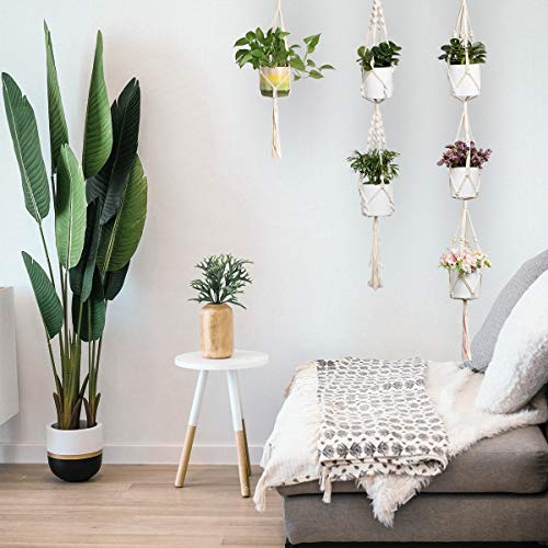 ENUOSUMA 3 Tier Plant Hanger, Indoor Outdoor Macrame Hanging Planter Flowers Pot Holder for Plants Decorations - Cotton Rope, 4 Legs, 71 Inch (Bonus: 1 PC Hook)