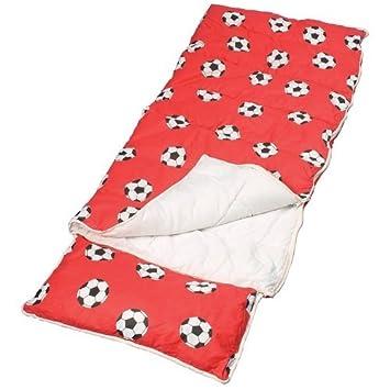 Sunncamp - Saco de dormir infantil con almohada (Fútbol), color rojo: Amazon.es: Deportes y aire libre