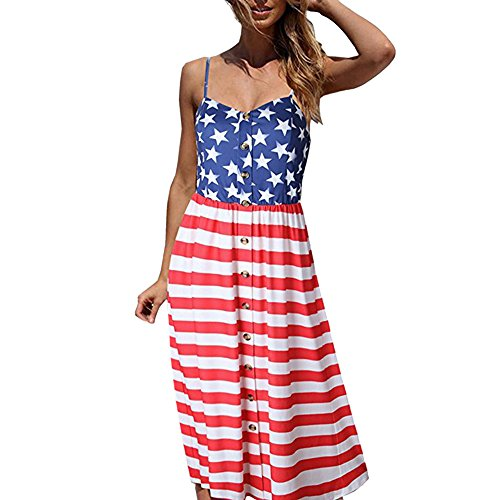 American Flag Print Strappy Bandeau Beach Party Dress with Buttons Front for Women (3XL, Red)