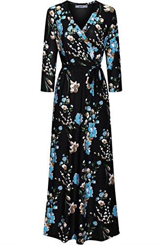 2LUV Women's 3/4 Sleeve Floral Print Rayon Faux Wrap Dress Black Blue S - Luv Wrap