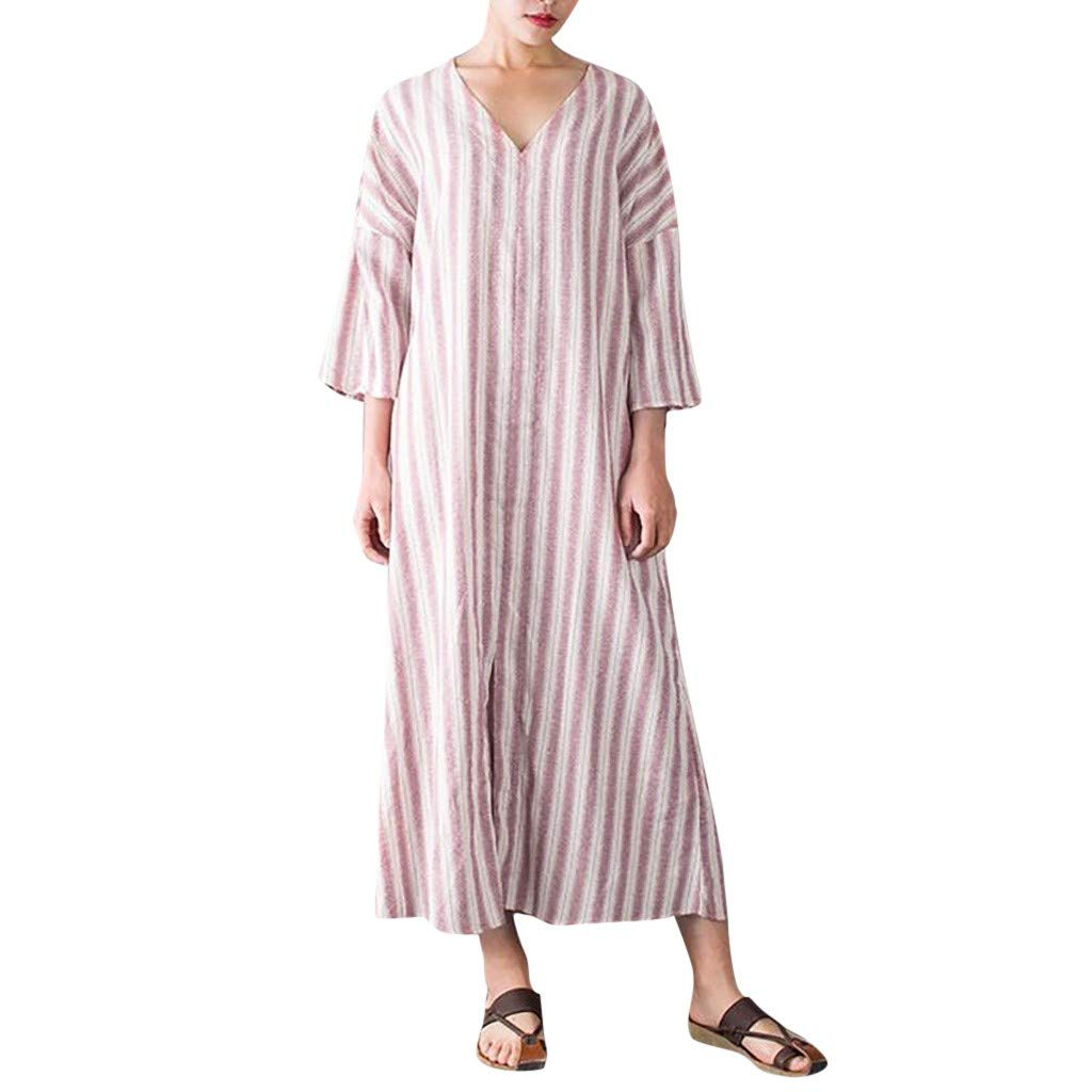 Sunmoot Clearance Sale Womens Linen Striped Maxi Dress,Summer Casual Plus Size 3/4 Sleeve Bohemian Loose V Neck Dresses Pink by Sunmoot Clearance Sale