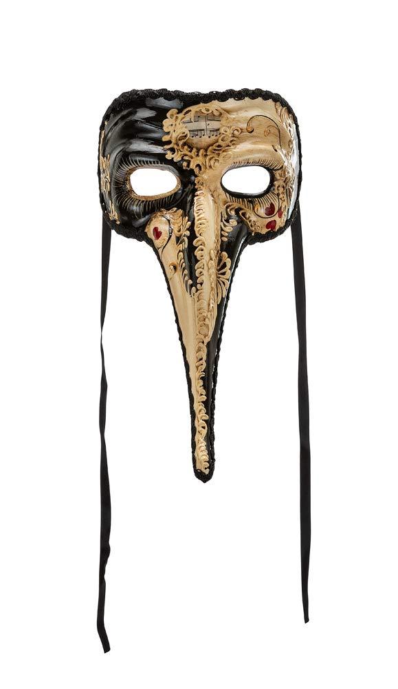Masque V/énitien Classique Avec D/écoration Peinte /À La Main Blanche Et Noire Et Avec Lacet en Soie Made In Italy