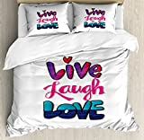 Ambesonne Live Laugh Love Duvet Cover Set Queen Size, Vintage Inspirations in Colorful Live Laugh and Love with Different Designs, Decorative 3 Piece Bedding Set with 2 Pillow Shams, Multicolor