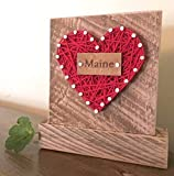 Sweet & small Maine string art heart block sign gift. For MAINE enthusiasts. Made in Maine by Nail it Art