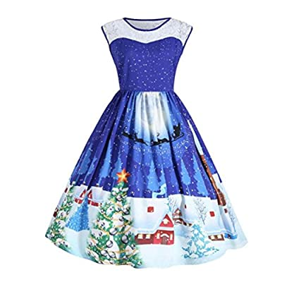 Party Dress Women Christmas Print Lace Pin up Swing Lace Party Panel Plus Size Dress