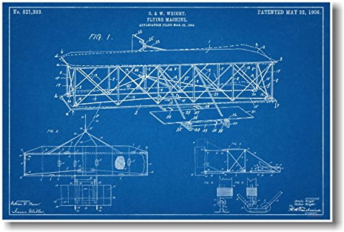 (Wright Flying Machine - NEW Famous Invention Patent Poster)