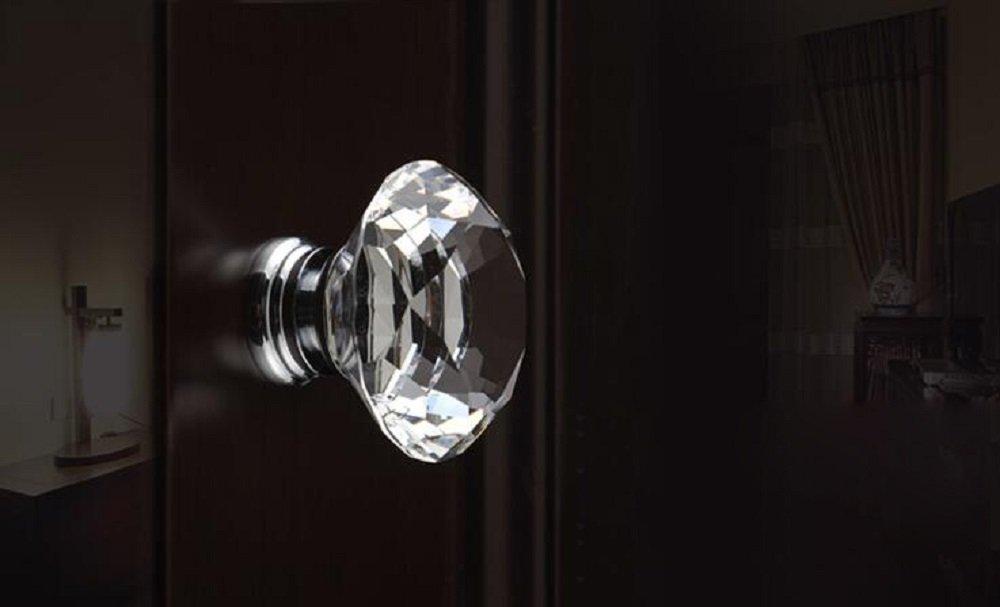 Diamond Shaped Crystal Glass 30mm Drawer knob Pull Handle for Drawer Bedside Table Dresser and Chest Hewnda 10pcs Drawer knob Transparent