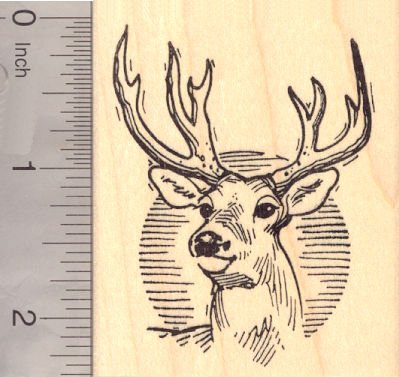 Buck Deer Wildlife Rubber Stamp
