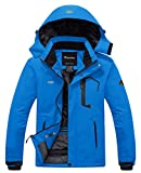 Wantdo Men's Waterproof Fleece Ski Jacket Windproof Rain Jacket Acid Blue S