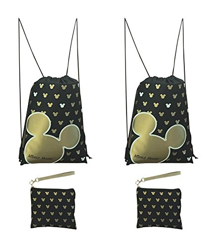 Disney Mickey Mouse Glow in the Dark Drawstring Backpack Pack of 4 (Gold) Includes 2 Drawstrings and 2 - Mk Rose Gold Bag