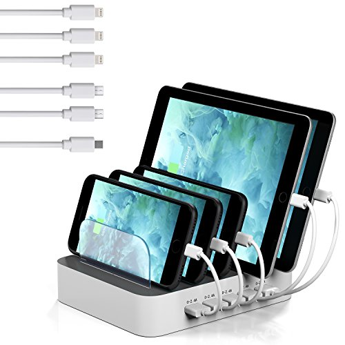 Multi Device Charging Station MSTJRY 5 Port USB Charger Station Dock for Apple iPhone ipad Android devices(White, 3 Lightning & 2 Micro USB Cables &1 Type-C Included)