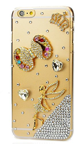 iPod Touch (6th Generation) Case, STENES Luxurious Crystal 3D Handmade Sparkle Diamond Rhinestone Clear Cover with Retro Bowknot Anti Dust Plug – Crow…