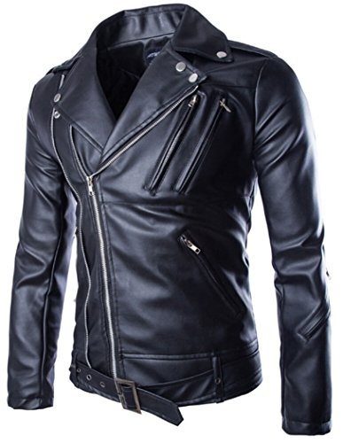 MR. R Men's Faux-Leather Slim Fit Motorcycle Jacket Black 2XL (Tag)