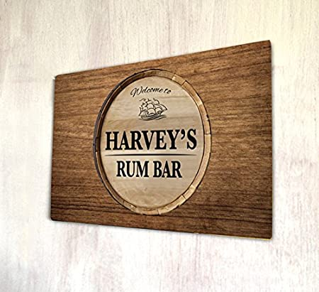 artylicious personalised rum bar wood bar a4 metal sign plaque wall