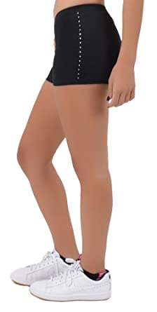8a5d61c6f9d Stretch is Comfort Women s Spandex Boy Cut Low Rise Rhinestone Booty Shorts  at Amazon Women s Clothing store
