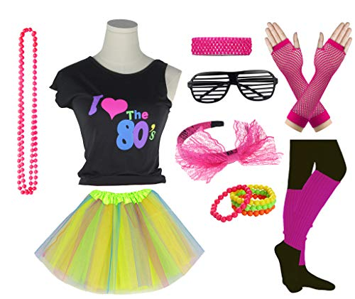 Girls I Love The 80's Disco T-Shirt for 1980s Theme Party Outfit (Rainbow01, 14-16 -
