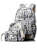 Leaper Cute Owl Pattern School Backpack Set Bookbag Shoulder Bag Pencil Bag 3PCS Black