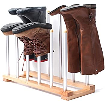 Wellington Boot Rack / Walking Boot Stand - Black - Metal - Indoor and outdoor - Holds four pairs of Wellies, Walking Boots or Shoes - The Ideal Welly, Boot or Shoe Storage Solution - Wellington Boot .