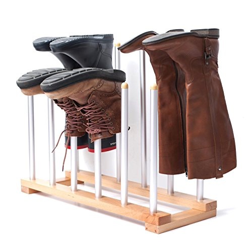 Aluminum Storage Holder (INNOKA 6 Pairs Boot Rack Organizer, Standing Wooden & Aluminum Storage Holder Hanger For Riding Boots, Rain Boots, Shoes - Easy to Assemble, Space-Saving, Keep Boots In Shape, Home Essentials)