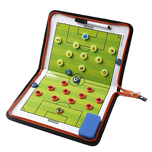 Amhii Football Soccer Magnetic Tactic Coach ClipBoard with Dry Erase Zipper and Marker Pen - Coaching Strategy Board Kit Equipment Foldable and Portable Coach ()