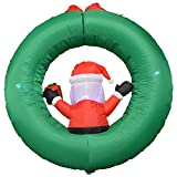 Impact Canopy Christmas Inflatable Decorations, Outdoor Holiday Lighted Santa with Wreath, 4 ft